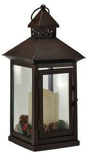 "13"" Bronze LED Lantern w/Pine and Berries"