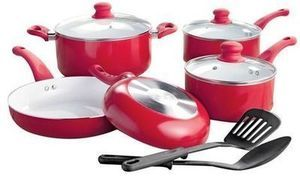 Studio A 10 Piece Ceramic Coating Red Cookware Set
