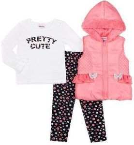 Little Lass Infant Toddler Girl Puffy Vest with Floral Leggings