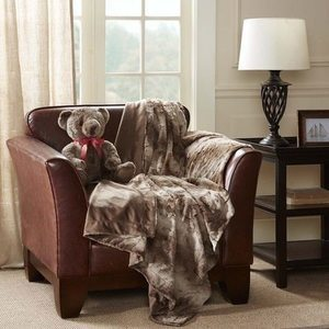Madison Park Faux Fur Throw with Bonus Bear Gift Set