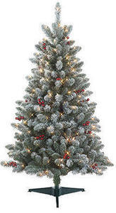 Jaclyn Smith 4.5' Redwood Pine Berry Flocked Spruce
