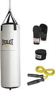 Everlast 60 lb Heavy Bag Kit - Silver 60-lb. Heavy Bag Kit, Silver