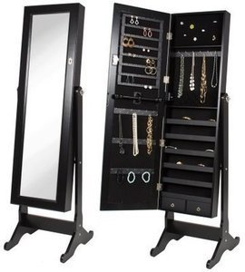 Black Mirrored Jewelry Cabinet Armoire w/ Stand Mirror
