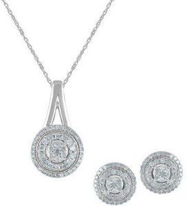1 Carat T.W Diamond Sterling Silver Pendant and Earring Box Set, 3 Piece