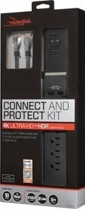 Rocketfish - 7-Outlet/2-USB Surge Protector  8' 4K UltraHD HDMI Cable - Black