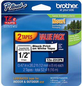 Brother TZe-231 Black-On-White Tapes, Pack Of 2