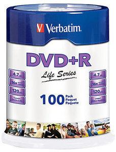 Verbatim Life Series DVD+R Spindle, Pack Of 100