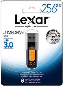 Lexar JumpDrive S57 USB 3.0 Flash Drive, 256GB, Orange