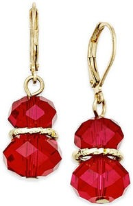 Charter Club Gold-Tone Red Faceted Stone Drop Earrings
