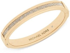 Michael Kors Gold-Tone Pav Hinged Bangle Bracelet