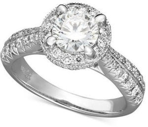 Certified Diamond Engagement Ring in 18k White Gold (1-1/2 ct. t.w.)