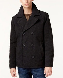 Men's Kurt Notch-Collar Pea Coat Men's Outerwear From Kenneth Cole and Guess