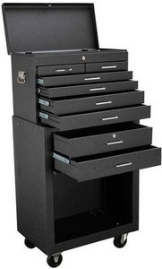 "27 in., 8 Drawer Black Roller Cabinet 2 Pc Combo Store House 52"" Tall 8 Drawer Roller Cabinet"