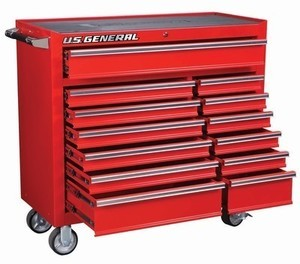 US General 44 in. 13 Drawer Glossy Red Industrial Roller Cabinet