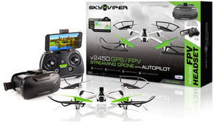 Sky Viper RC Video Streaming Drone w/GPS & FPV Goggles