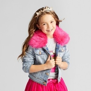 Girls' Jean Jacket with Fur Collar - Cat & Jack Light Blue