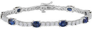 Oval Lab-Created Blue Sapphire and Cubic Zirconia Tennis Bracelet