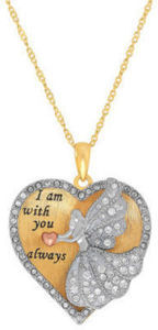 Womens 14K Gold Over Silver Crystal Heart Pendant Necklace