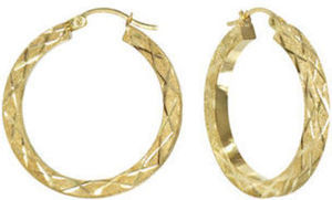 14K Yellow Gold Laser-Cut Square Tube Hoop Earrings