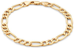 "Men's 10K Gold 6.7mm 8.5"" Hollow Figaro Bracelet"