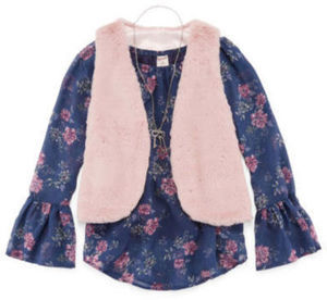 Girls' Arizona 3-Piece Fur Vest, Top & Necklace
