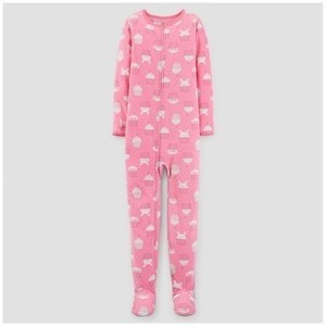 Just One You made by Carter's Girls' One Piece PJ Fleece Bunny Cupcakes Footed Sleepwear - Falling Fuchsia