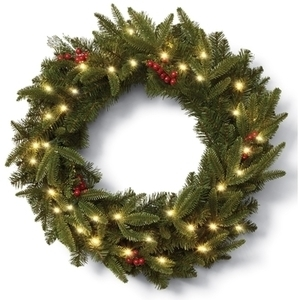 "Celebrations Prelit Green 30"" Christmas Wreath"