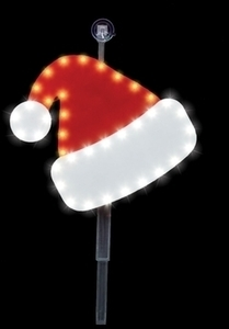 Santa's Best LED Santa Hat Stake Christmas Decoration Red/White Plastic 12 in.