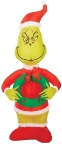 Gemmy Industries Airblown Santa Grinch Christmas Decoration