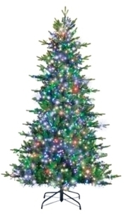 Holiday Bright Lights TR Fir Multicolored lights 7 ft. H Prelit Christmas Tree