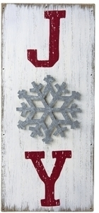 Hallmark Joy Plank Sign Christmas Decoration White/Red Wood
