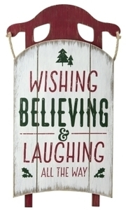Hallmark Wishing Believing and Laughing All The Way Sled Christmas Decoration