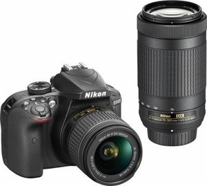 Nikon D3400 DSLR Camera with AF-P DX 18-55mm G VR and 70-300mm G ED Lenses - Black