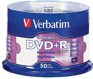 Verbatim Life Series DVD+R Printable Disc Spindle, Pack Of 50