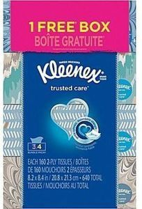 Kleenex® Facial Tissues, 4 Boxes/Pack