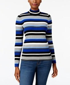 Karen Scott Cotton Striped Mock-Turtleneck Sweater