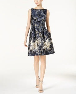 Jessica Howard Metallic Floral Brocade Fit & Flare Dress