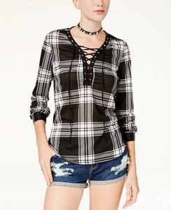 Juniors' Lace-Up Plaid Top