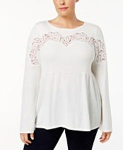 Style & Co Plus Size Lace-Trimmed Babydoll Sweater