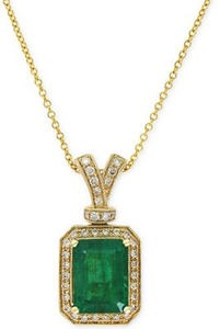 Brasilica by EFFY Emerald (2-1/5 ct. t.w.) and Diamond (1/5 ct. t.w.) Pendant Necklace in 14k Gold
