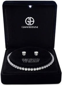 Cubic Zirconia Tennis Bracelet & Stud Earrings Set in Sterling Silver