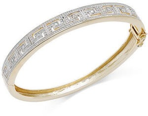 Diamond Accent Greek Key Bangle Bracelet in 18k Gold over Sterling Silver-Plated Brass