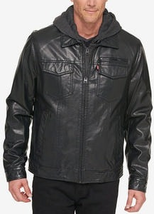 Men's L27 Faux Leather Trucker Jacket with Bib & Hood