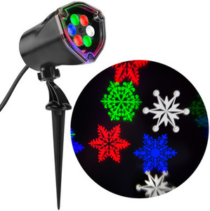 LightShow Lightshow Projection Multi-function Multicolor LED Snowflakes Christmas Outdoor Stake Light Projector
