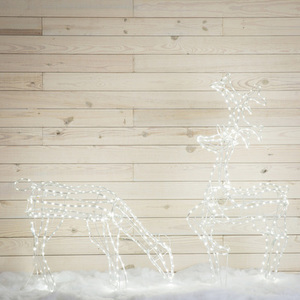 GE 2.1-ft Freestanding Buck And Doe Reindeer with Constant White LED Lights