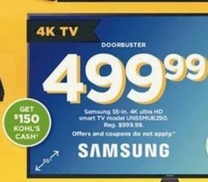 "Samsung UN55MU6290 55"" 4K HDTV + $150 Kohl's Cash"