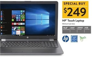 "HP 15.6"" Touch Laptop w/ Pentium CPU, 4GB Mem + 500GB HDD"