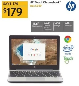 "HP 11.6"" Touch Chromebook w/ Celeron CPU, 4GB Mem + 16GB Storage"