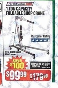Pittsburg 1 Ton Foldable Shop Crane