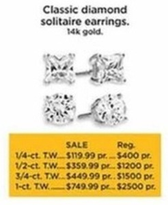 1/4-ct T.W. Classic Diamond Solitaire Earrings 14K Gold